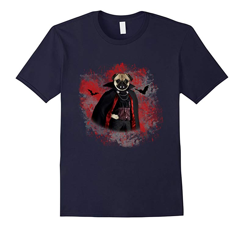 Halloween Pug As Vampire T-Shirt-Funny Ghost Face Halloween-RT