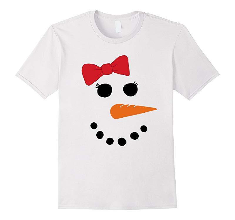 Snowman Face T Shirt Girl Red Bow-RT