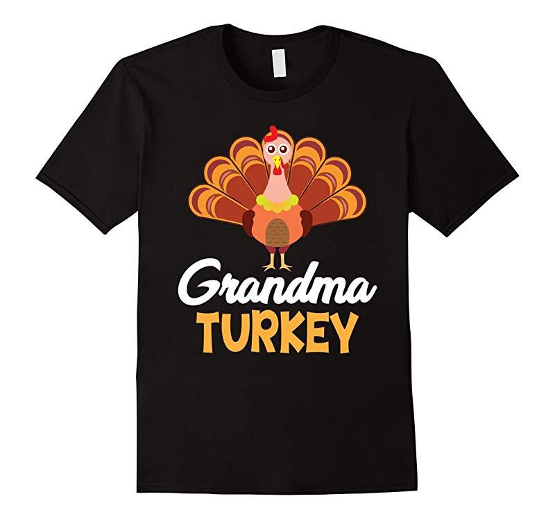 Grandma Turkey Family Matching Cool Thanksgiving T-Shirt-ANZ