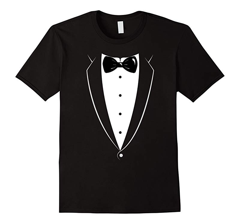 Black And White Tuxedo With Bow tie Funny Novelty T Shirt-RT