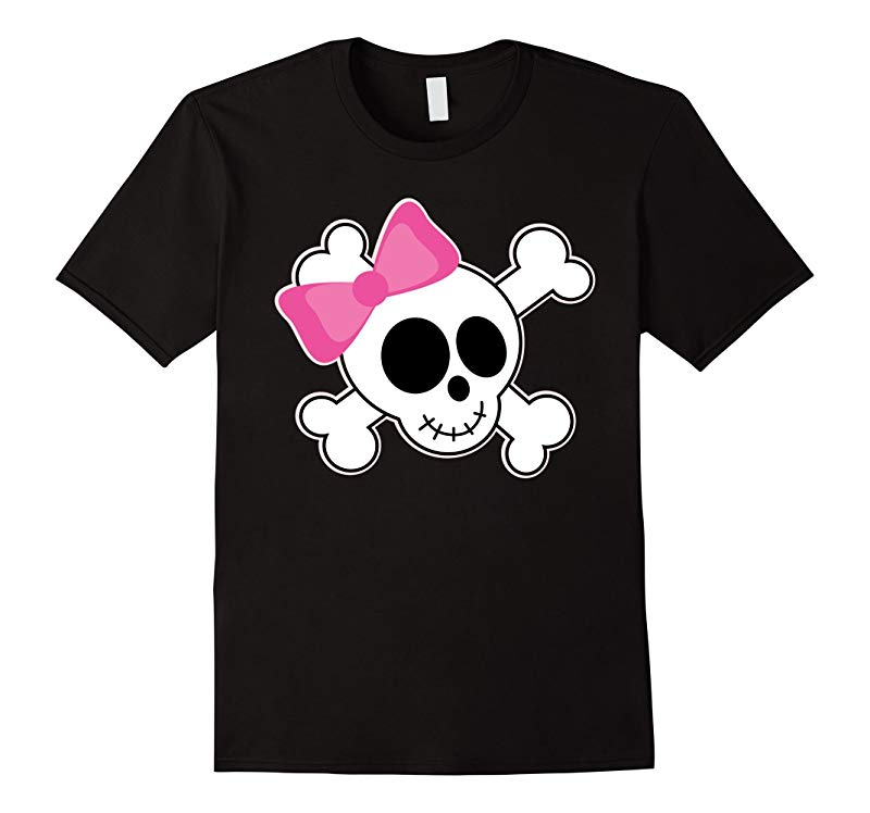 Halloween Skull With Pink Bow Costume T-shirt-RT