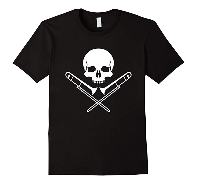 Skull & Crossbones Funny Trombone T-Shirt For Trombonist-RT