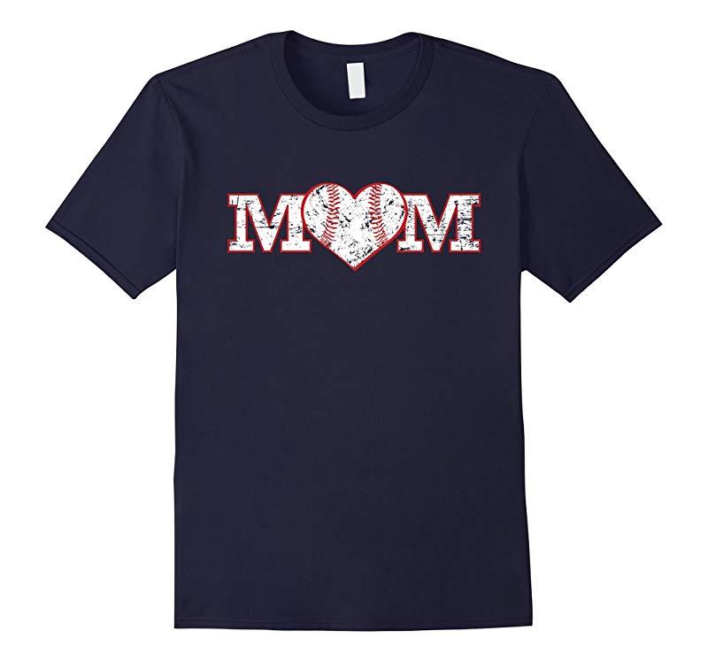 Baseball Mom Softball Heart Shirt Mother Gift Mama-RT