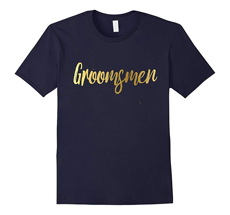 Groomsmen Shirt Gold Foil Wedding Party Bride Groom-RT