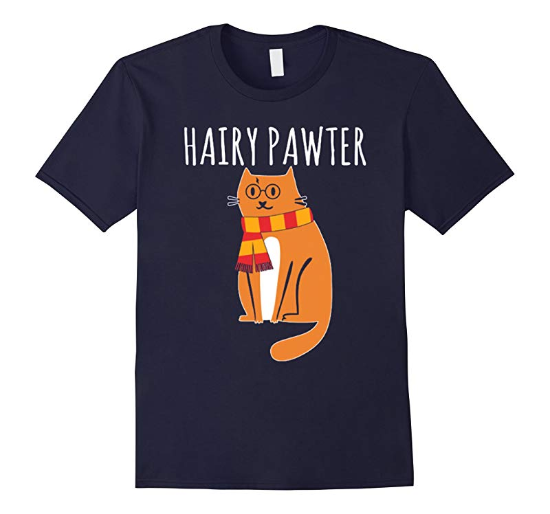 Hairy Pawter T-shirt Cat with Glasses Halloween tee-RT