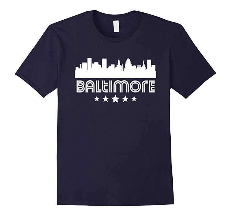 Baltimore Maryland Skyline Retro Style T-Shirt-RT