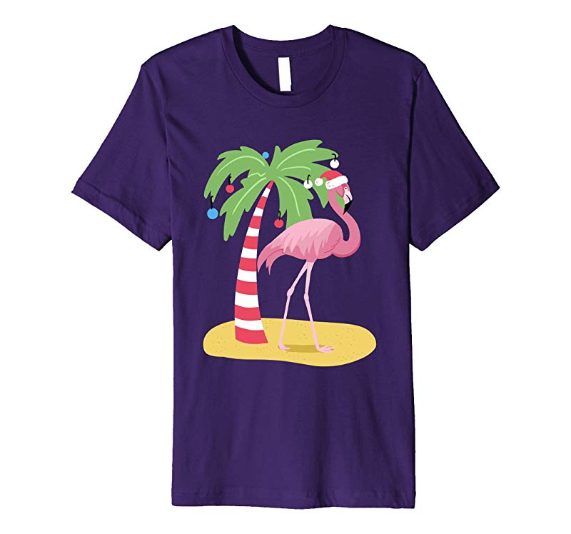 Pink Flamingo Christmas T Shirt Tropical Fashion Tee-ANZ