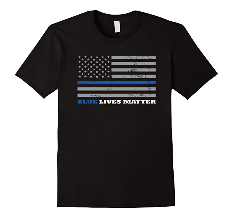 Blue Lives Matter - Thin Blue Line Flag T-Shirt-RT
