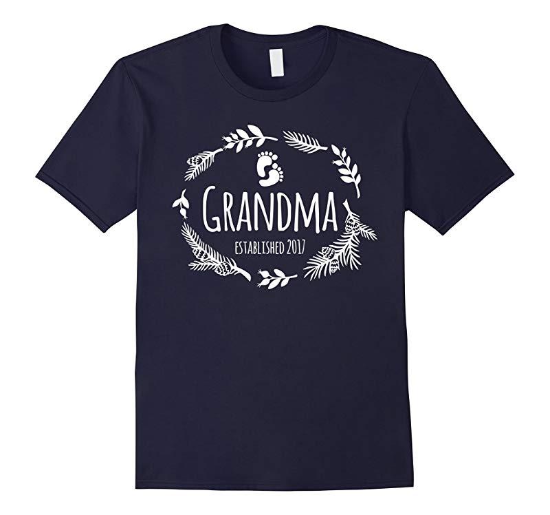 Womens Grandma Established 2017 T-Shirt - Cute Baby Feet-RT