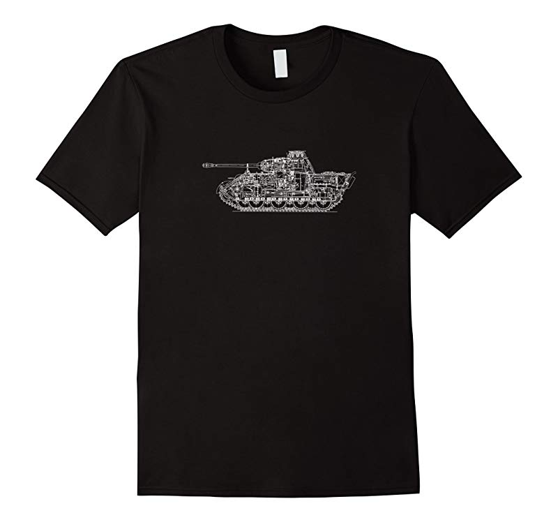 Panzer Tank Schematic | WWII Military Tank History T-shirt-RT
