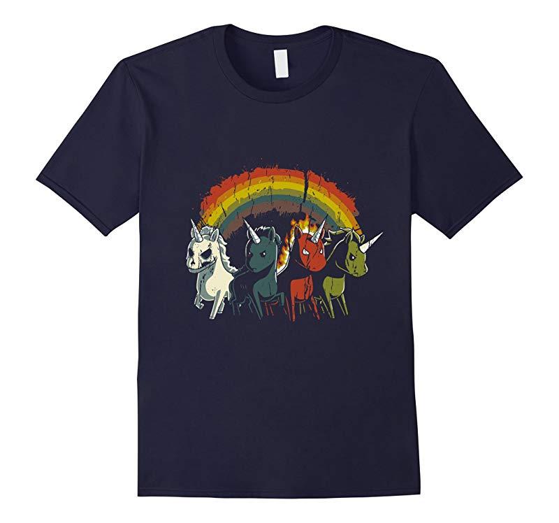 Four Unicorns Of The Apocalypse T-shirt Evil Zombie, Rainbow-RT
