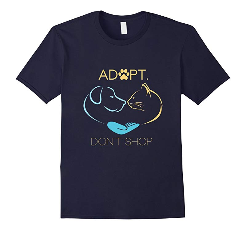 Adopt Don't Shop Dog Cat Rescue Adoption T-Shirt-RT