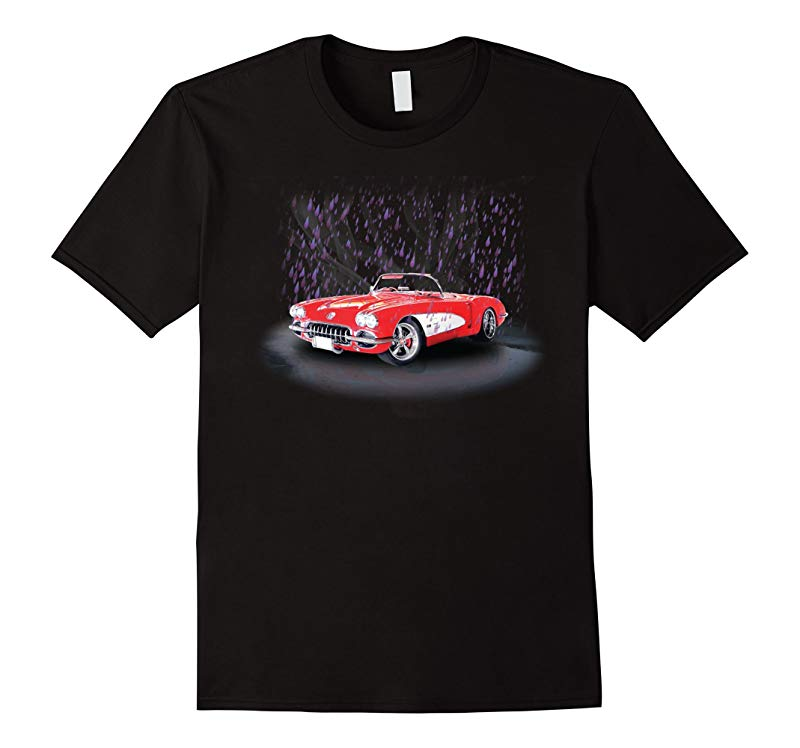 A Little Corvette red in rain purple in color shirt-RT