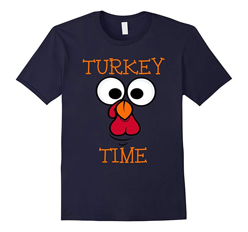 Turkey Time Funny Face Thanksgiving Day Novelty T Shirt-RT