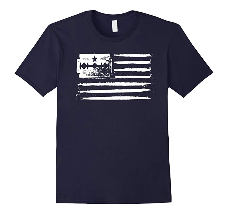 USA flag - Lines of coke (cocaine) and razor blade T-shirt-BN