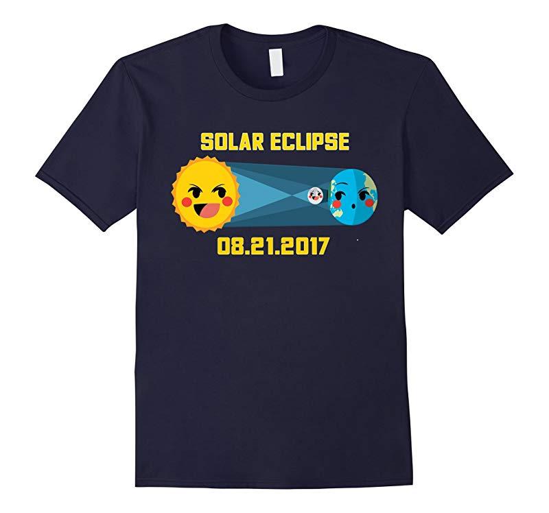 August 2017 Solar Eclipse Tee - Kids Cartoon Emoji Eclipse S-BN