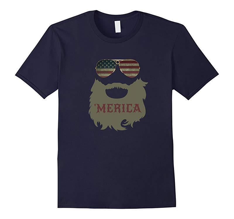 'Merica Patriotic Beard Sunglasses Flag T-shirt-RT