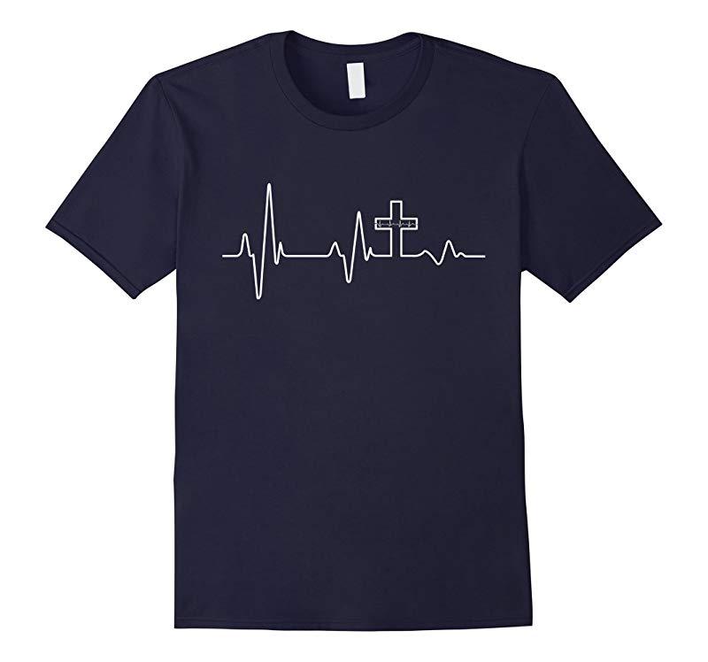 Christian T-Shirt - Jesus Christ Heartbeat Cross Faith Hope-RT