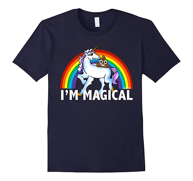 Emoji T Shirt Im Magical Poop Emoji Riding Unicorn Rainbow-RT