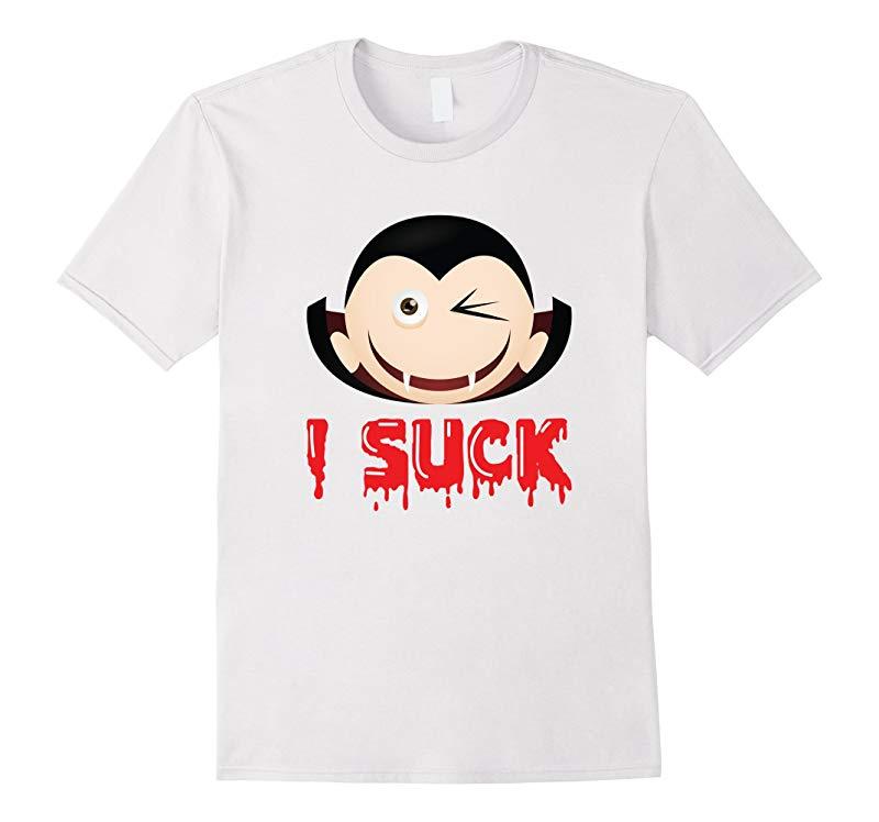 Tee Vision Vampire Wink Emoji I Suck Halloween T-Shirt-RT