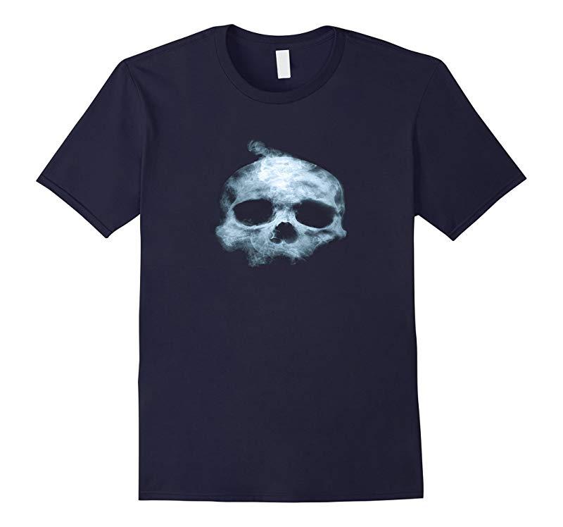 Blue Flame Skull Scary Halloween T-Shirt-RT
