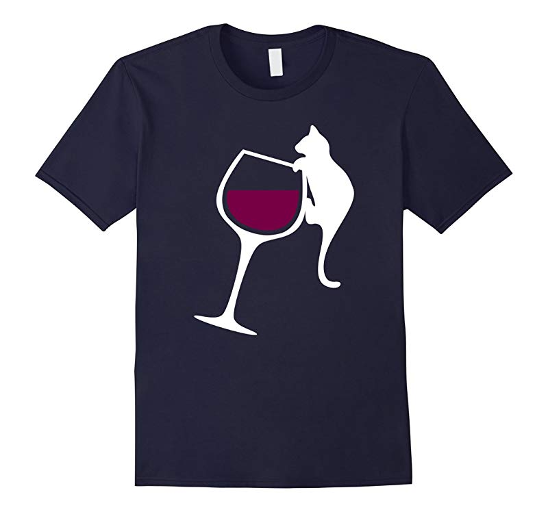 Ornery Cat Tipping Wine Glass T Shirt Funny Crazy Cat Gift-Vaci
