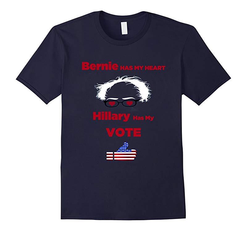Bernie Has My Heart Hillary Has My Vote Trump Tee-RT