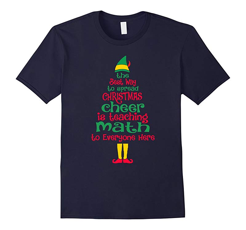 Elf Math Teacher Christmas T-Shirt Xmas Cheer Funny Teacher-FL
