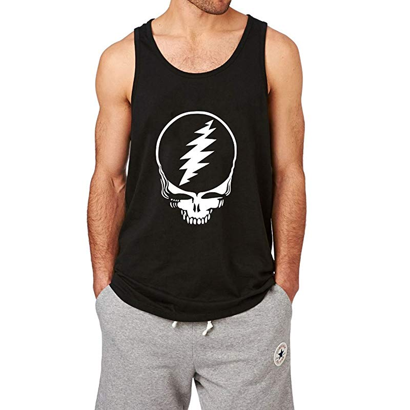 Loo Show Mens Grateful Dead Steal Your Face Black Tank Top-Vaci