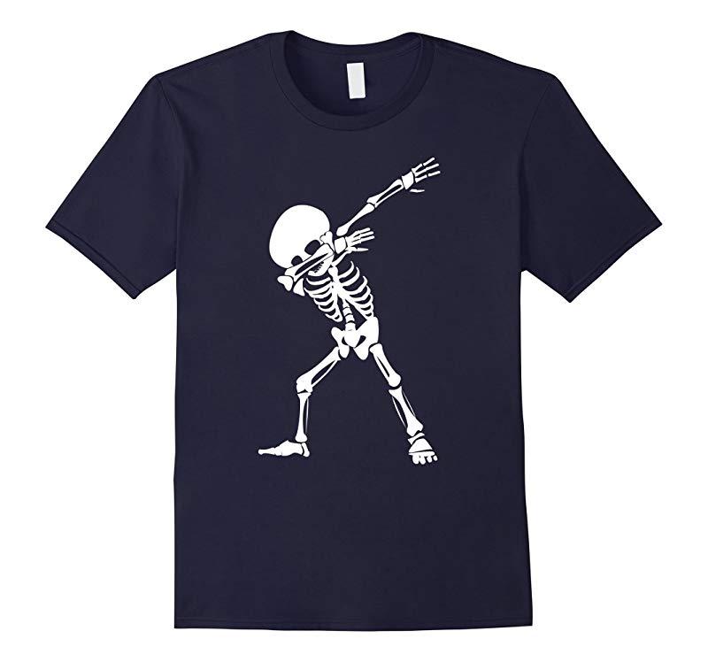Dabbing Skeleton Shirt - Funny Halloween Dab Skull T-Shirt-RT