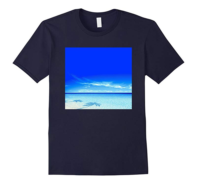 Blue Beach Summer Palm Trees Paradise Ocean Vaporwave Shirt-RT