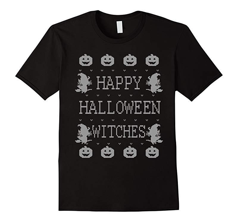 Happy Halloween Witches - 2-bit Pixelated Design - T-Shirt-RT