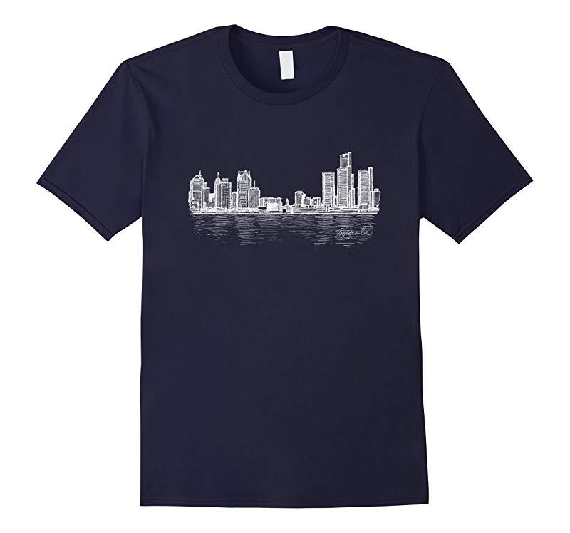 Detroit Michigan Skyline Panorama Drawing T Shirt-RT