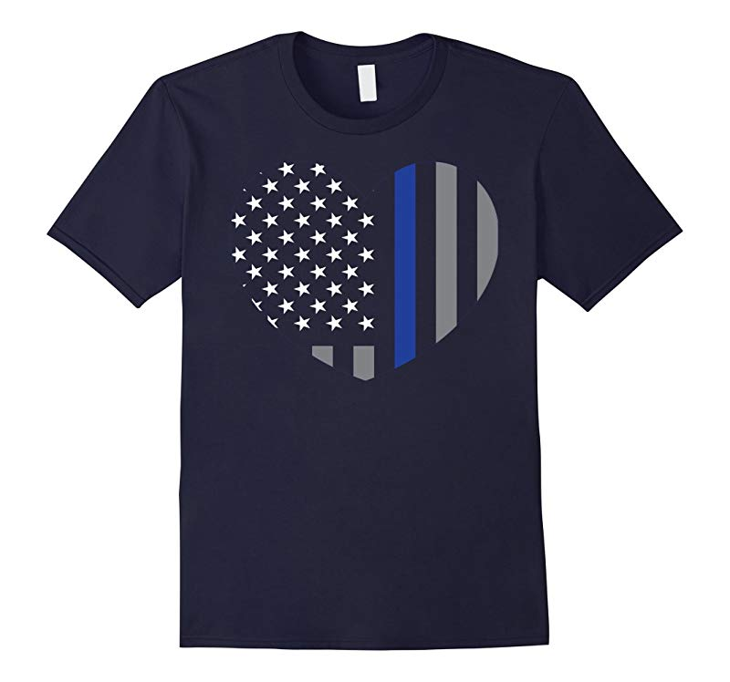 Blue Lives Matter Thin Blue Line Heart Flag Police Tee-RT