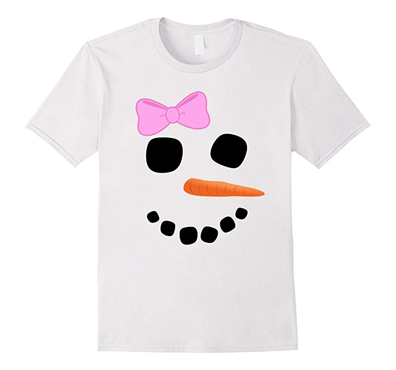 Snowman Face Girl Pink Bow T Shirt - Funny Fun Christmas Tee-RT