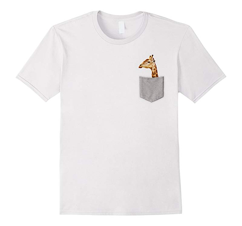 Giraffe In Pocket T-Shirt Funny Giraffe Shirts-AZP