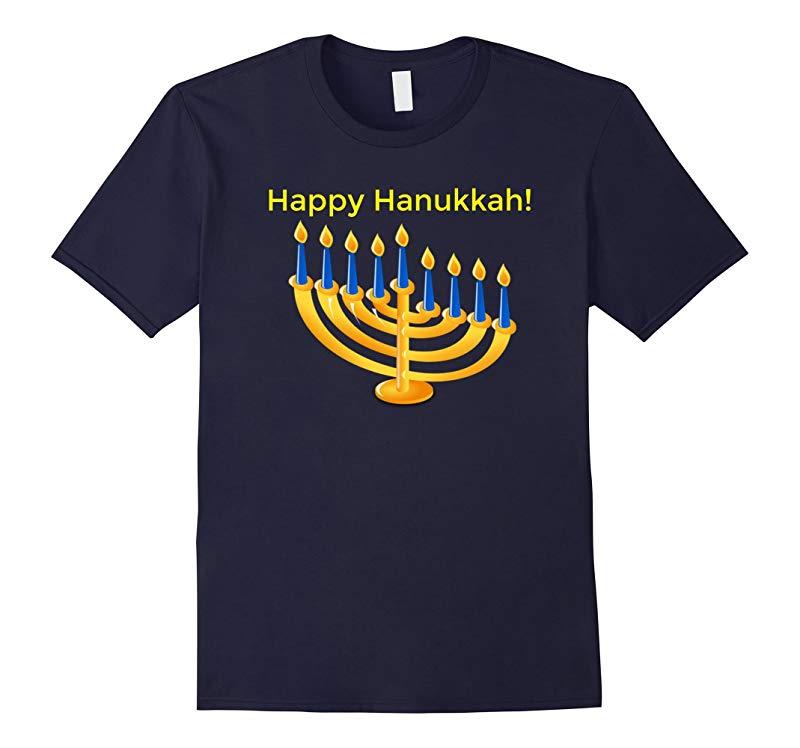 Happy Hanukka Chanukah Tee with Colorful Menorah Design-RT