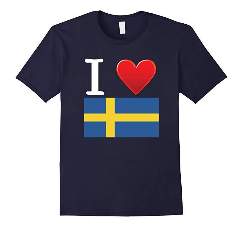 I Heart Love Sweden Flag T-Shirt-RT