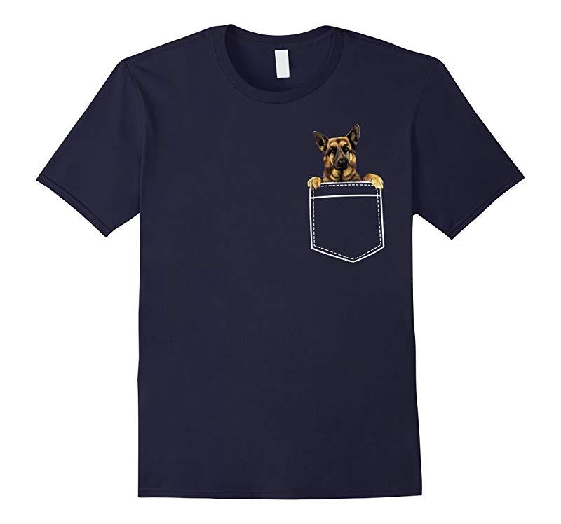 Cartoon Pocket German Shepherd Dog Meme T-shirt-RT