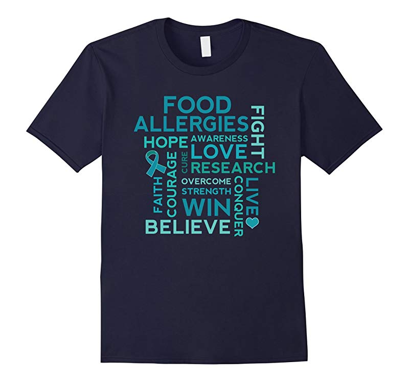 Food Allergies Awareness Conquer Fight Win T-shirt-RT