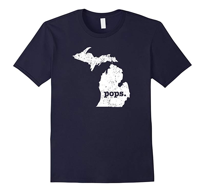 Mens Best Pops T Shirt Michigan T Shirt Grandpop Pop T Shirt-RT