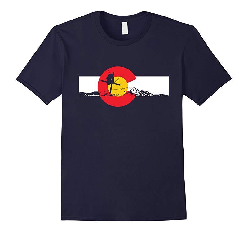 Colorado Ski -Ski Moutain Flag TShirt-RT