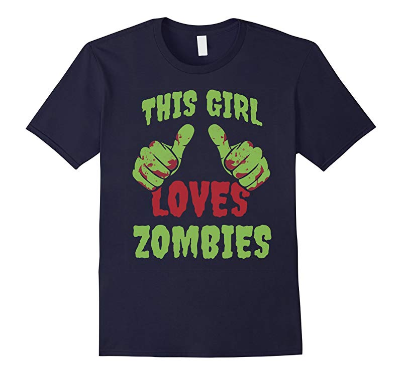 This Girl Loves Zombies Halloween T-Shirt-RT