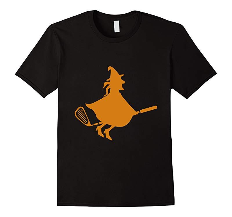 Halloween Golf Player Witch Riding on a Golf Club T-Shirt-FL