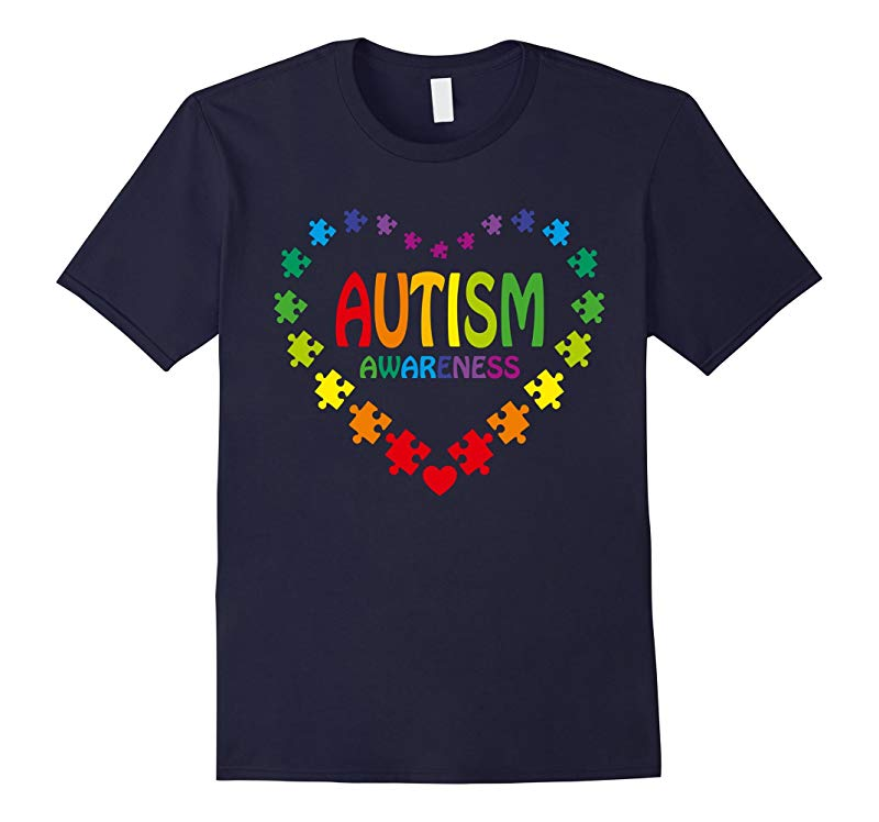 Autism Shirt in Shape of Heart made from Puzzle Pieces Tee-BN