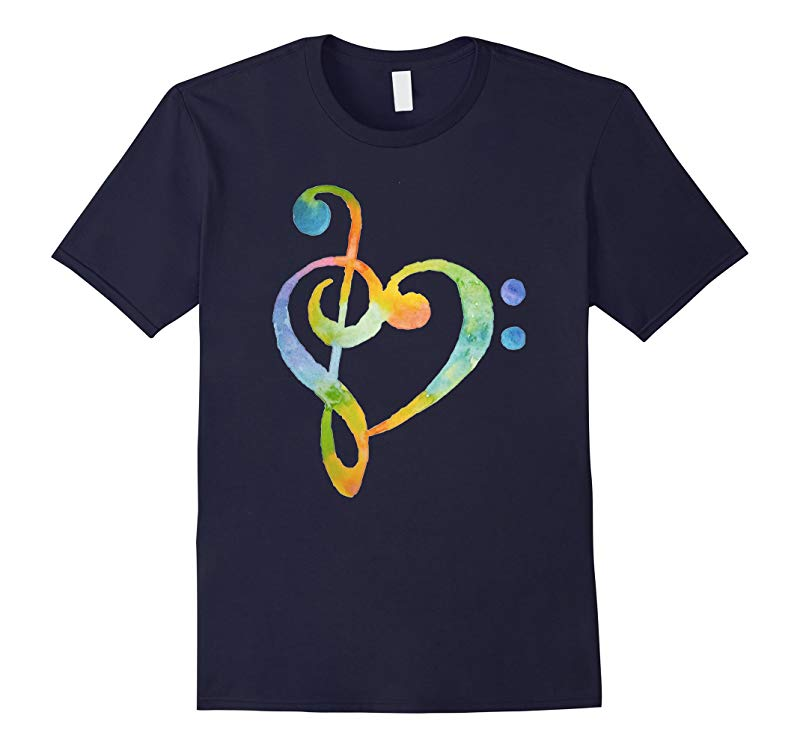 Watercolor Rainbow Heart Bass Clef T-Shirt Musical Note Tee-RT