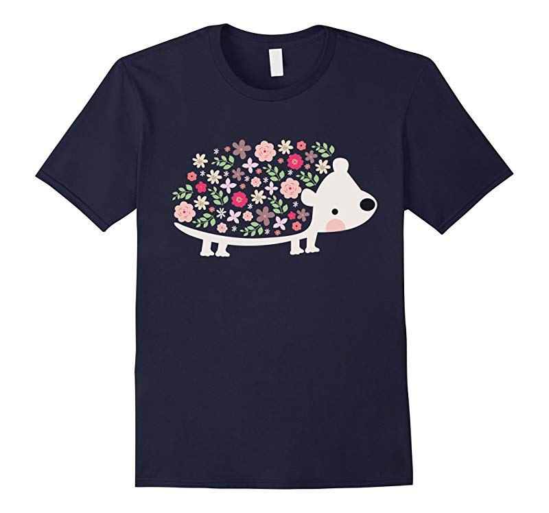 Cute Hedgehog Shirt: Love Hedgehog Graphics Flowers T-Shirt-RT