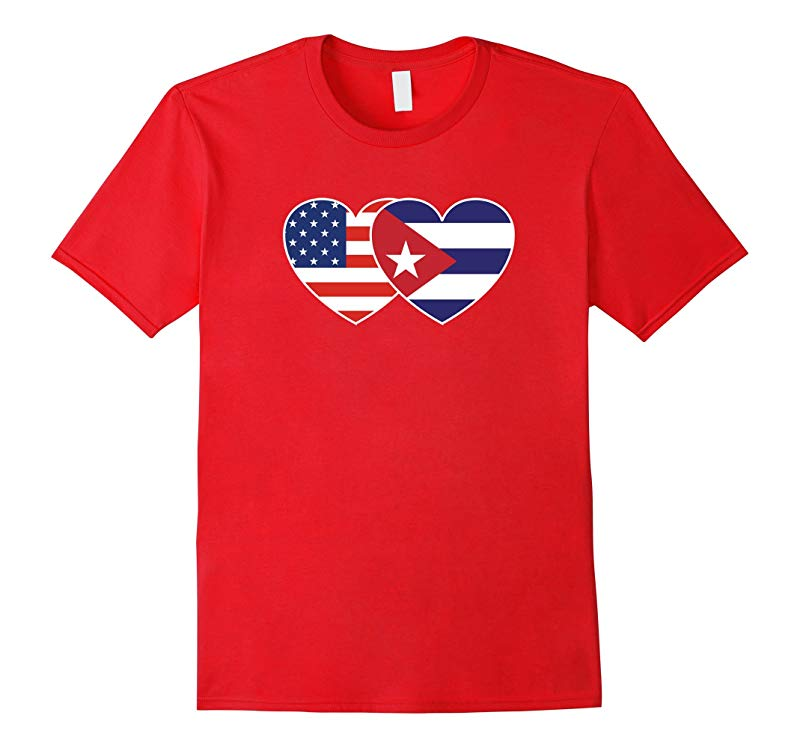CUBA USA Flag Twin Heart T Shirt for Cubans Americans-RT
