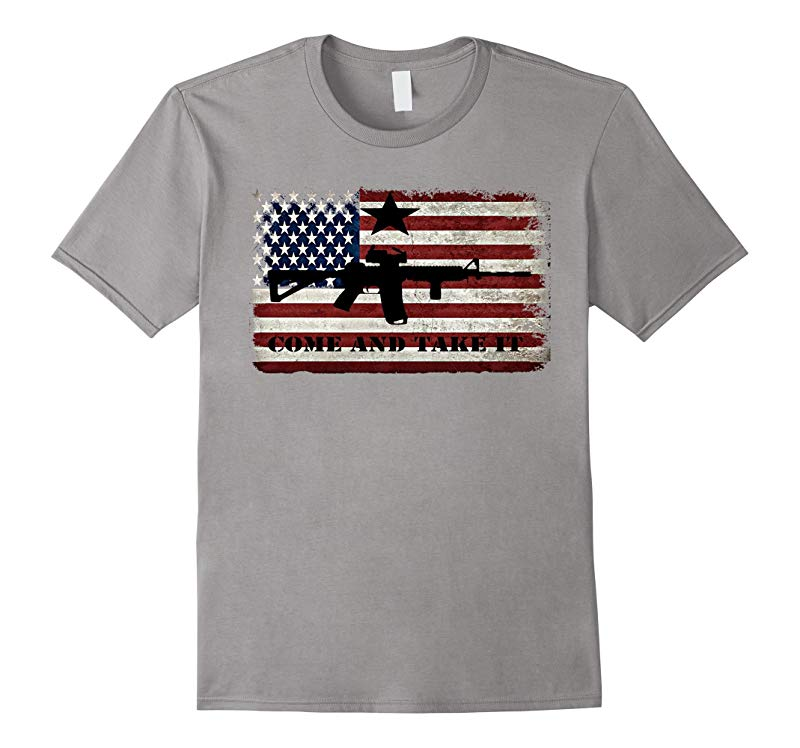Black AR-15 Come and Take It American Flag T-Shirt-T-Shirt