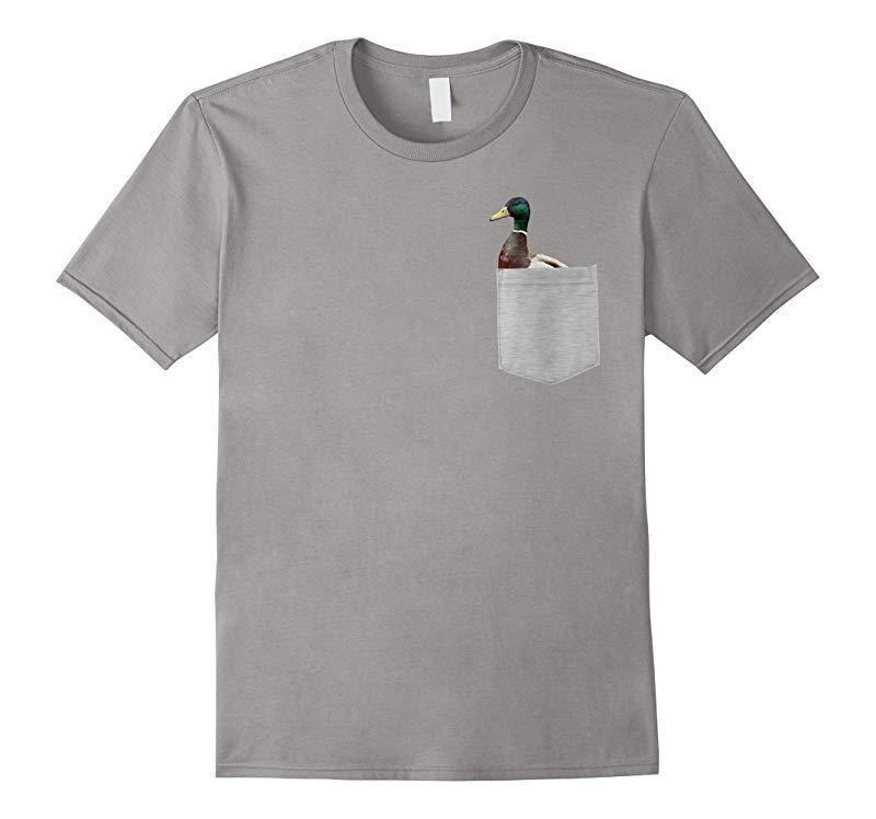 Animal in Your Pocket Funny Mallard Duck peeking out t shirt-T-Shirt